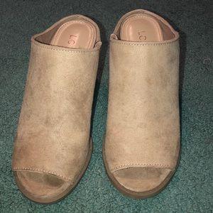 Suede Tan/Taupe Lauren Conrad Heels size 5